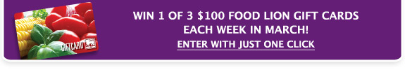 Win 1 of 3 $100 Food Lion Gift Cards